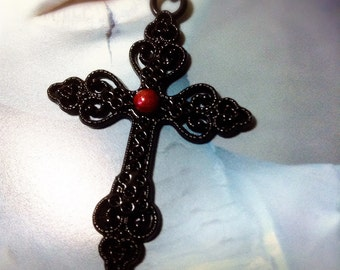 Gothic Cross Necklace - Red