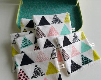 Washable wipes - baby wipes - triangles pattern