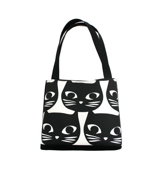 Cats, black and white, large tote, tote bag, travel bag