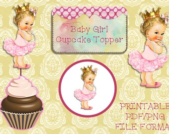 Printable Baby Girl Cupcake topper