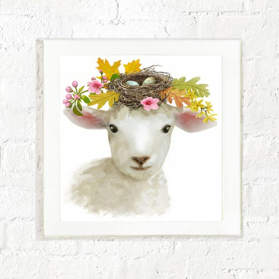 Lamb with flowers, kids farm animal wall art, lamb art, nursery wall art, baby farm animal art, lamb painting, art for kids walls, sheep art