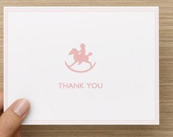 Baby thank you card: Baby girl baby shower thank you card!  Baby rocking horse. Multiple pack sizes available!
