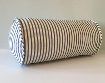 Navy Blue Ticking Stripe Bolster Throw Pillow 6 x 12