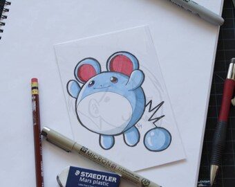Pokemon Marill 4x6 marker drawing