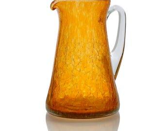 Pitcher blown glass pitcher is handmade, artisan, gift idea