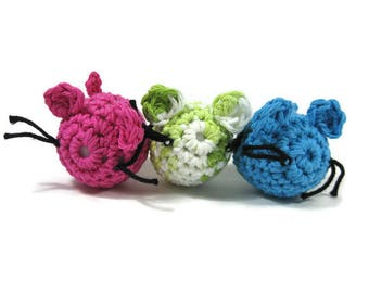 Crocheted Cotton Mouse Cat Nip Toy Ready to Ship You Choose the Color