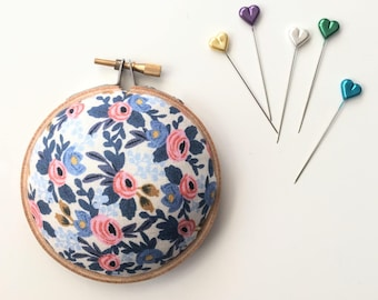 Embroidery Hoop Pincushion: Rosa Floral Periwinkle - Gifts for Mom. Needle Holder. Needle Minder. Sewing Accessory. - Rifle Paper Co