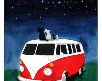 Scottie Dogs Art Print 'Moon & Stars' camper Scottish Terriers #441