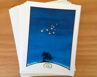 6 blank cards - The Sisters - Pleiades constellation