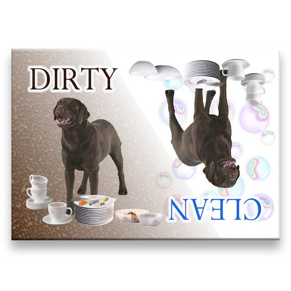 Labrador Retriever Clean Dirty Dishwasher Magnet (Chocolate)