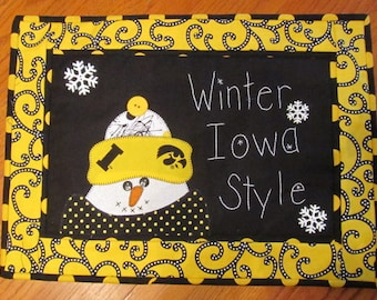 Iowa University ...Winter Iowa Style Wall Hanging or Table Topper