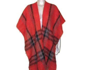 60s Tartan Shawl Red Plaid Shawl  Faux Mohair Wrap Red Black Gray Shawl Vintage Shawl 1960s Evening Wrap Red Plaid Wrap Red Tartan Shawl