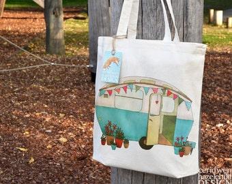 Blue Caravan Tote Bag, Ethically Produced Reusable Shopper Bag, Cotton Tote, Shopping Bag, Eco Tote Bag, Stocking Filler, Caravan Gift