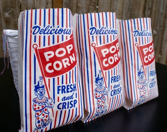 Vintage Popcorn Bags – Set of 10 – Circus Party – Carnival Theme Birthday – Movie Night - Red White Blue