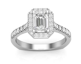 White Gold Engagement Ring Emerald Cut Halo Ring For Her Semi Mount 7x5 Forever One Emerald Cut Moissanite Center New Unique Setting 14K