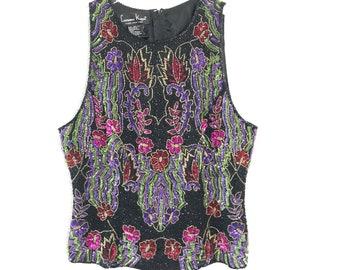 Vtg 80s Sequined beaded blouse top laurence kazar sleeveless evening shirt floral silk medium
