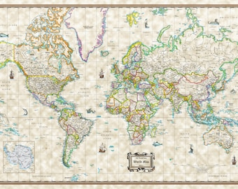 """Old World Style Modern World Wall Map Antique Poster - 36""""x24"""" Rolled Paper or Laminated"""