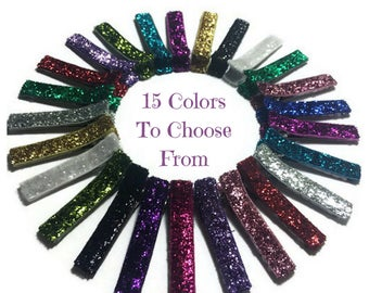 10 Glitter Lined Alligator Clips, 45mm, No Slip Hair Clips, Glitter Hair Clips, Glitter Lined Clips, Glitter Ribbon Clips, Glitter Covered
