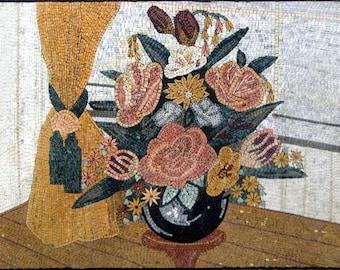 Mosaic Designs - Pink Hibiscus Flowers