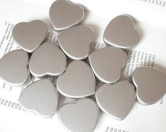 Small Heart Tin, Jewelry Box, Candle Tin, Lip Balm Tin, Blank Silver Color