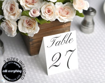 Wedding Table Card Template - Printable Table Cards - Wedding Table Number Cards - Wedding Table Numbers - 4x6, 5x5 and 4x5 tented included
