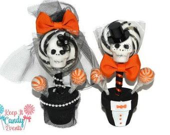 Custom Mini Sugar Skull Lollipop Wedding Favors, Bride and Groom Wedding Favors, Day of the Dead Wedding Favors, Halloween Wedding Favors