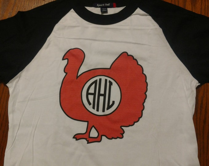 Thanksgiving T shirt - monogrammed turkey - 3/4 sleeve baseball style raglan, Thanksgiving, Fall, Hunting