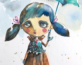 original whimsical watercolor painting My Umbrella