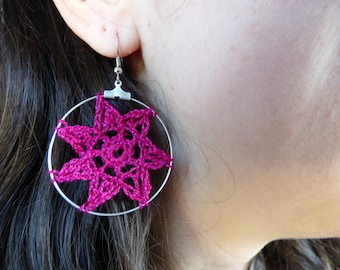 Earrings made of cotton, crochet technique