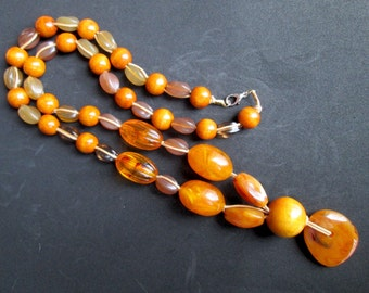 Vintage Faux Butterscotch Amber Fakelite Faux Agate Plastic Oval Round Wood Mixed Bead Beaded Necklace Festival Boho Hippie