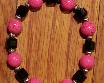 Handcrafted Pink and Black Stretch Bracelet