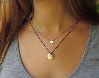 Organic Disc Pendant On A Black Silk Necklace, Delicate Gold Necklace, Simple Gold Necklace, Gold Minimalist Necklace, Dainty Gold Necklace