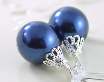 Navy Blue Earrings, Large Glass Pearls, Christmas Balls, Silver Plated Lever Earwires, Fun Holiday Jewelry