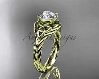 Celtic proposal ring, 14kt yellow gold celtic trinity twisted rope wedding ring RPCT9125