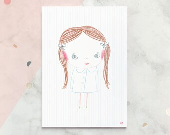 Print / Poster with KACY Girl character illustration - A4 size