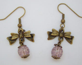 Bows and pearls Craquelees purple earrings