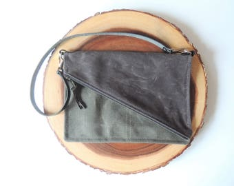 Waxed Canvas Purse - Canvas Shoulder Bag - Foldover Purse with Zipper - Hypotenuse Bag - Canvas Foldover Bag - Crossbody Bag - Shoulder Bag
