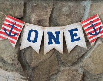 Nautical First Birthday Banner, Nautical Anchor Banner, Sailor 1st Birthday Decor, Sailor First Birthday Banner, One Year Old Banners, B465