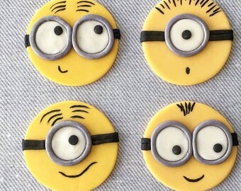 12 Minion Fondant Cupcake Toppers