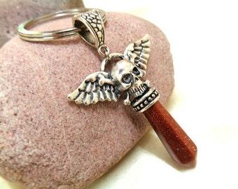SALE! Skull Keyring, Goldstone Keyring, Sandstone Keychain, Gemstone Keychain, Skull and Wings Keychain, Skull and Gemstone Keyring, For Him