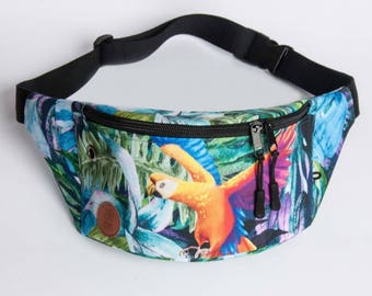 Parrot Fanny Pack, Waist Bag, Bum Bag, Hip Pouch, Belt Bag, Custom Made, Slow Fashion