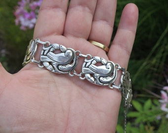Vintage Sterling Norseland By Coro 925 Sterling Silver Dove Bracelet