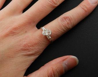 Herkimer Diamond Ring, Gemstone Ring, Raw Herkimer Diamond Ring, Herkimer And Silver Ring, Gemstone Ring, Mineral Ring/ Raw Herkimer Ring