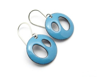 Aqua Blue Enamel Earrings - Lightweight and Modern Jewelry for Everyday Wear - Sterling Silver - Birthday Gift for her