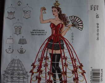 McCalls Misses  Costumes for Corset, Covered Hoop Wire (uncut) in sizes 6-8-10-12-14
