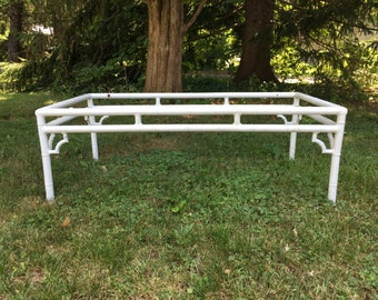 Vintage aluminum faux bamboo coffee table