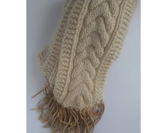 Knitted Cable Switch Scarf (Ivory)