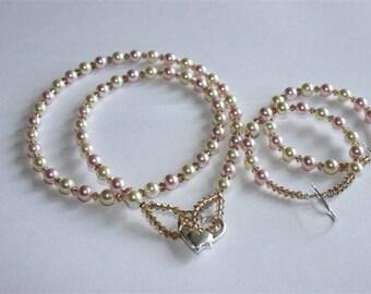 Wedding jewelry set, swarovski Pearl and silver Sterling