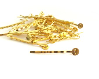 Gold Bobby Pins with Glue Pad - 8mm Glue Pad, 52mm long