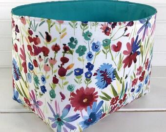 Basket Storage Baby Girl Nursery Decor Baby Shower Gift Basket Office Decor Desk Organizer Flowers Floral Turquoise